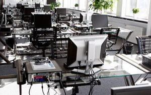 row of computers for e-waste recycling