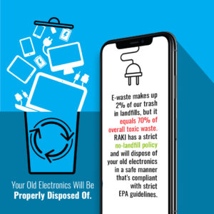 RAKI Electronics Recycling infographic about toxic electronic waste